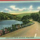 MONROE WI WISCONSIN GREETINGS FROM ROAD RIVER  POSTCARD
