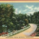 MONROE WI WISCONSIN GREETINGS FROM ROAD  POSTCARD