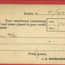TOLEDO OH OHIO  L.S. BAUMGARDNER 1904  POSTCARD