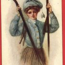 SKI GIRL CROSS COUNTRY SKIS ARTIST SIGNED  POSTCARD