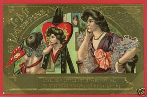 VALENTINE'S DAY CUPID PAINTING PORTRAIT HEART POSTCARD