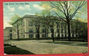 ANN ARBOR MICHIGAN HIGH SCHOOL 1911 POSTCARD