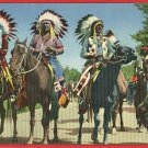 INDIAN BRAVES LINED UP FOR PARADE HORSES  POSTCARD