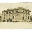 RPPC MYSTERY BUILDING-OLD CARS-STREET LAMP-FIRE HYDRANT