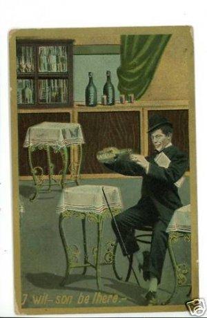 ALCOHOL BAR MAN DRINKING WILSON COMIC CANE  POSTCARD