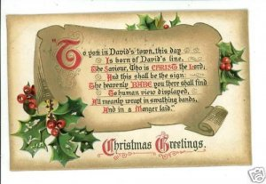 CHRISTMAS TUCK HYMNS SERIES O LITTLE TOWN OF...POSTCARD