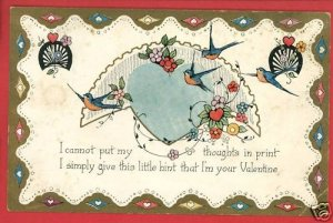 VALENTINE BLUEBIRDS THOUGHTS HINT 1927 POSTCARD