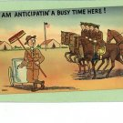 US ARMY COMIC CLEANING MANURE CART BROOM HORSE POSTCARD