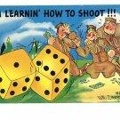 U.S. ARMY COMIC DICE SHOOT GAMBLING ZARBA POSTCARD
