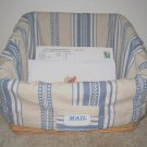 NEW POTTERY BARN BLUE DOBBY STRIPE SLANT BASKET LINER