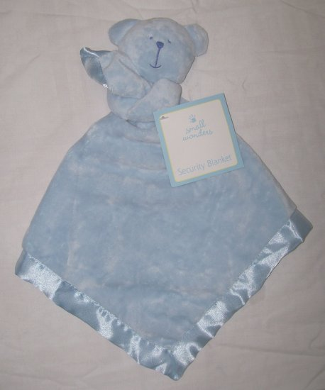 NWT Blue Bear SECURITY BLANKET Lovey Buddy SATIN LINED