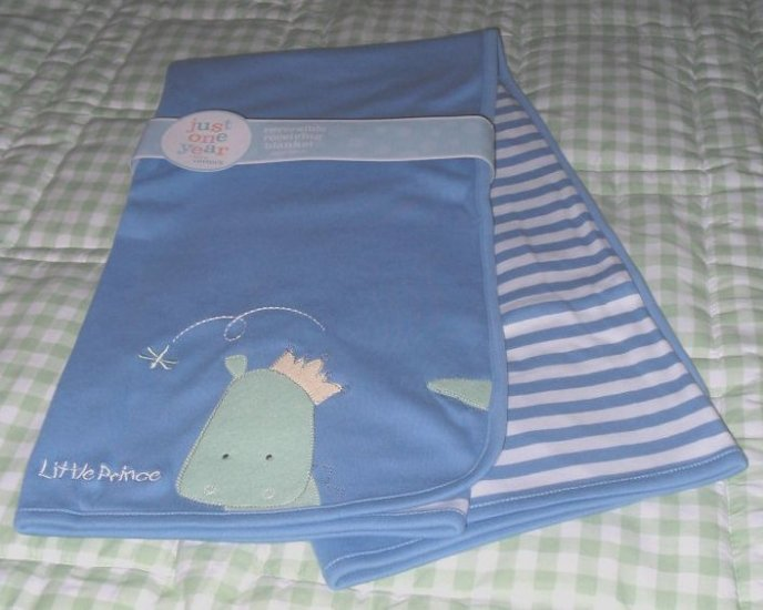NEW BABY BLANKET BLUE CARTER'S JOY JUST ONE YEAR Little Prince NWT