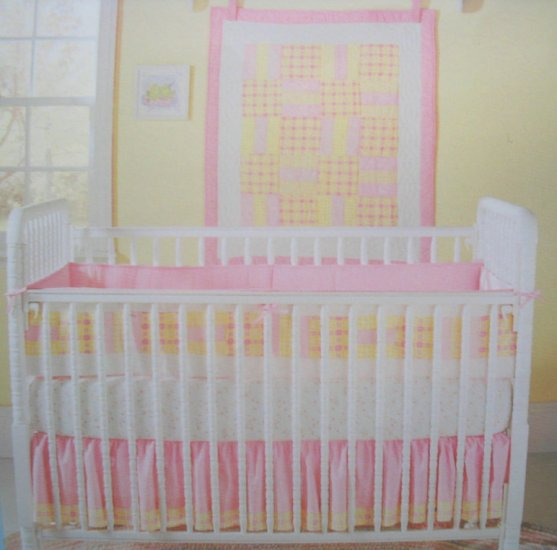 NEW CARTERs Pink Gingham 4 Piece BABY NURSERY CRIB BEDDING SET NIP