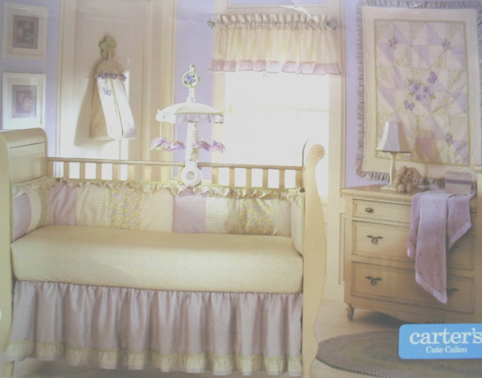RARE CARTERs CUTE CALICO Baby Girl 4 Piece NURSERY CRIB BEDDING SET