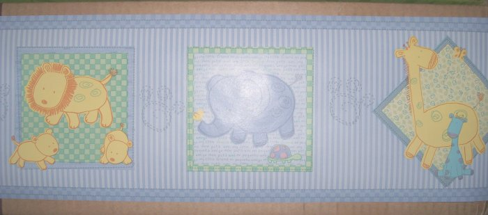 CARTERs Child of Mine Boy BLUE ANIMAL WALL BORDER NIP