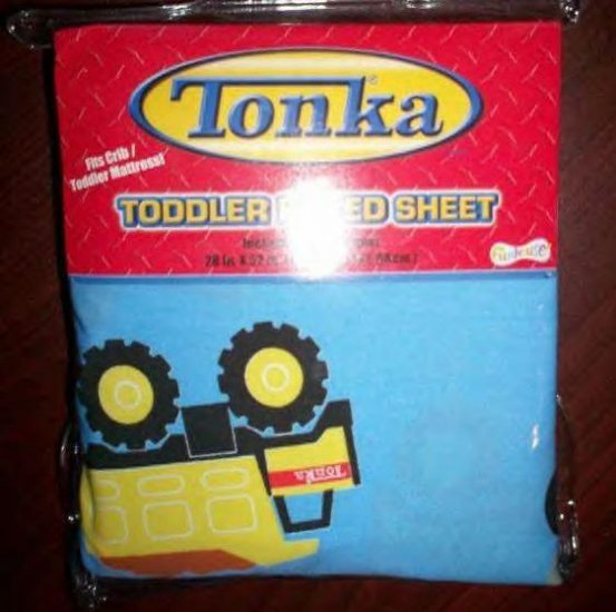 NIP TONKA Trucks FITTED TODDLER BED or CRIB SHEET Blue