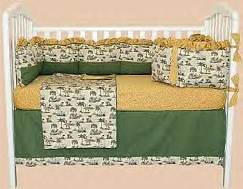 NEW BUBBLE BEACH Slumber Safari 4 Piece Jungle Animals BABY NURSERY CRIB BEDDING SET Elephant