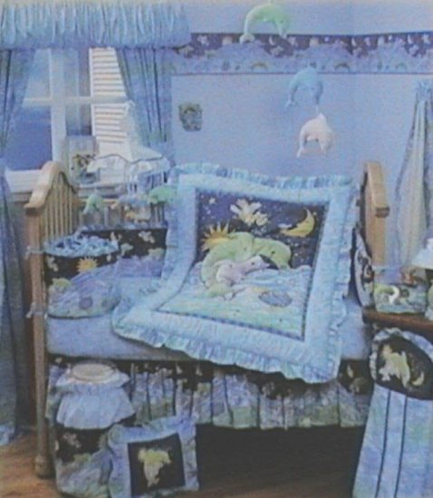 KIDSLine DEL MAR Delmar 6P Baby Boy or Girl Nursery Crib Bedding Ocean Waves SET Dolphins Kids Line