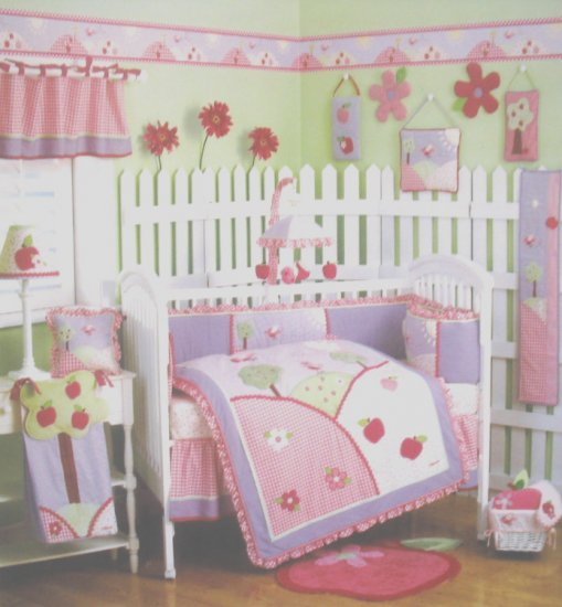 RARE NEW OshKosh BABY APPLE HILL 4 Piece Baby Girl Nursery Crib Bedding SET by CoCaLo Osh Kosh NIP