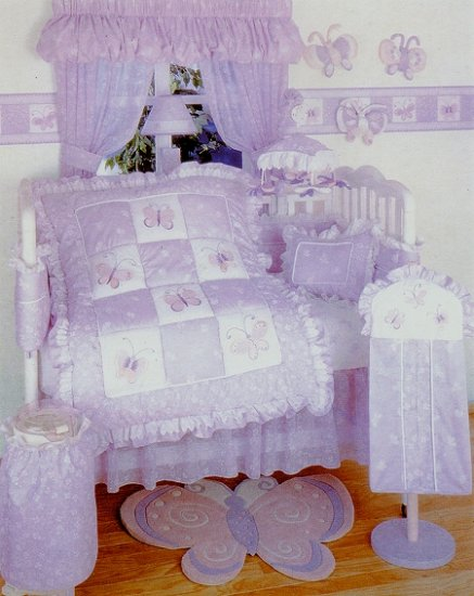 NEW KidsLine PALOMA Baby Girl Nursery 6pc Crib Bedding Set Butterfly Flowers Lavender Kids Line NIP
