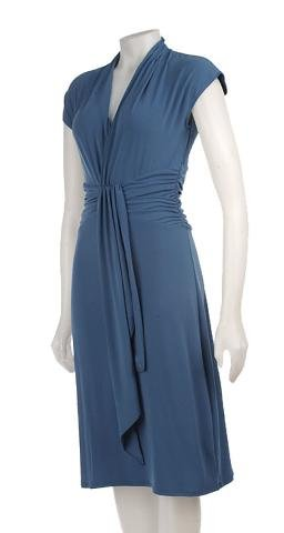 NEW MAX and CLEO WOMEN'S TEAL BLUE JERSEY WRAP STYLE DRESS sz L 12 14