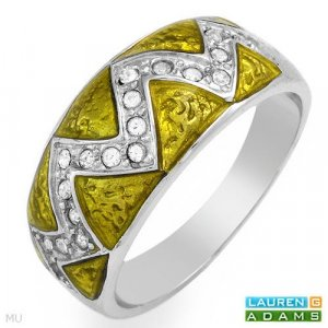 Stunning Brand New Ring With Genuine Crystals Crafted in Yellow Enamel