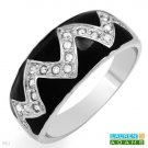 Exquisite Brand New Ring With Genuine Crystals in Black Enamel