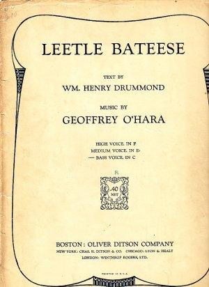 Leetle Bateese, Song with Piano Accompaniment 1921 Vintage Sheet Music - 110