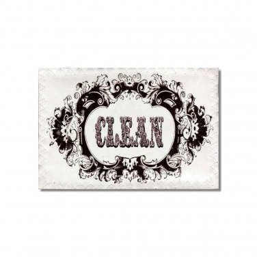 Clean Dirty Dishwasher magnet Victorian Flip Sign shabby french brown Stainless Steel Option