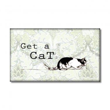 Get A Cat fridge Magnet kitchen decor rescue shelter animals soft green adopt pet