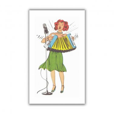 Accordion Player Girl Rockabilly fridge Magnet kitchen refrigerator humor