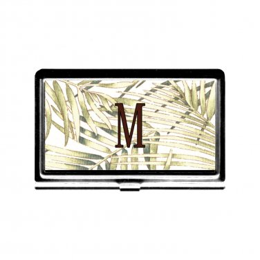 Monogram Busniess Card Case Credit Card Holder l metal green fern nature garden personalized gift