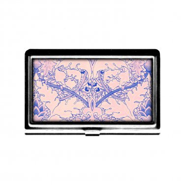 Business Card Case Jacobean Flowers Pink Blue Credit Card stainless steel metal case wallet