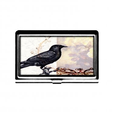 Business Card holder Victorian Crow Credit Card stainless steel metal case wallet