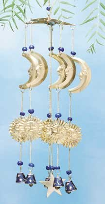 Brass Moon, Star, Sun Wind Chimes