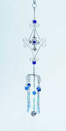 Metal Wind Chime with Beads and Cross