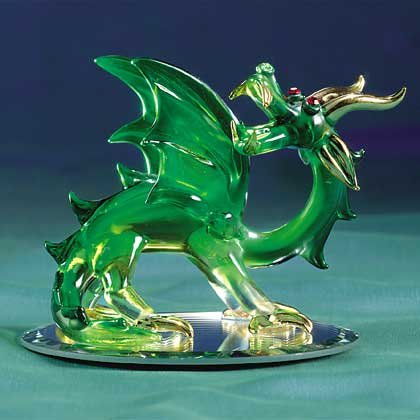 Green Glass Dragon With Wings
