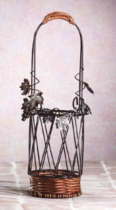 Metal-Rattan Wine Bottle Basket