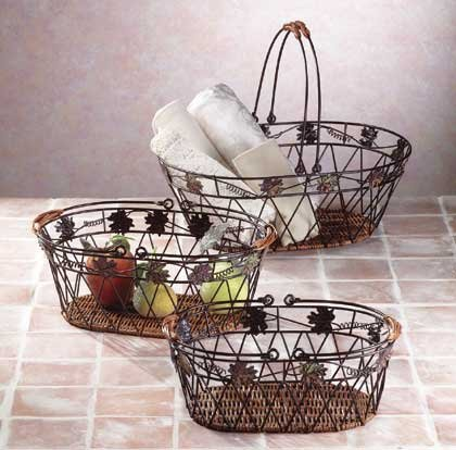 3-Piece Metal-Rattan Basket
