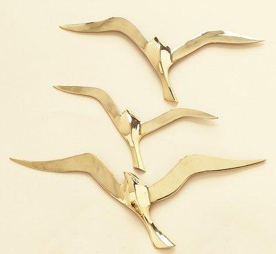3-Piece Brass Seagull Wall Decor