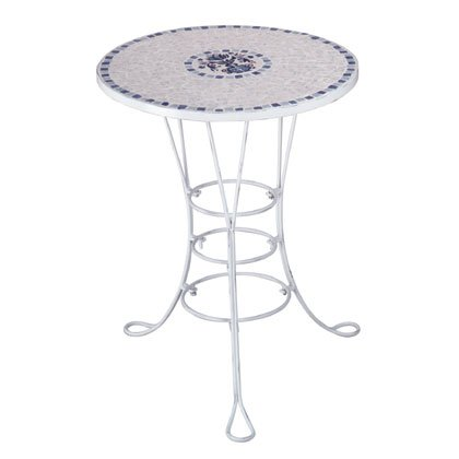 Blue & White Mosaic Tile Bistro Table