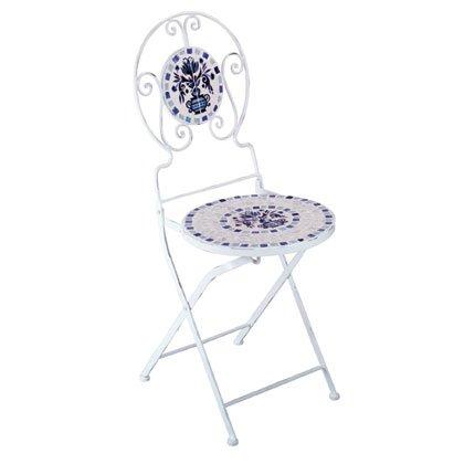 Blue & White Mosaic Tile Bistro Chair