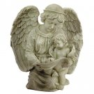 Angel Reading With Cherub Birdfeeder