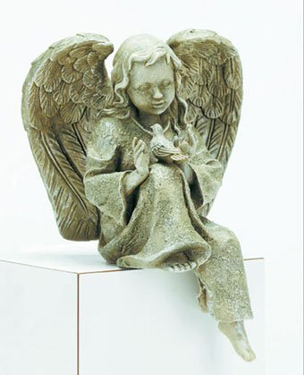 Verdigris-Finished Angel With Bird