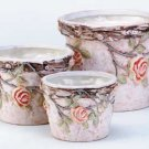 Nesting Ceramic Planters with Roses