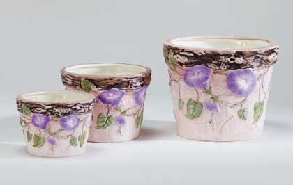 Nesting Ceramic Planters with Morning Glories