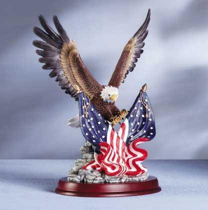 Eagle Sculpture on Wood Base