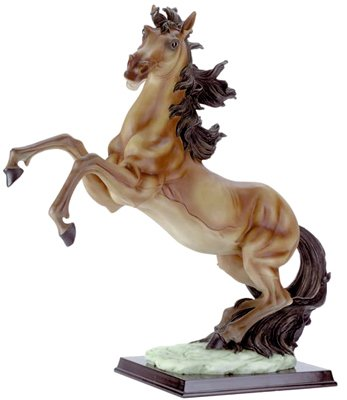 Horse With Legs Up On Wood Base