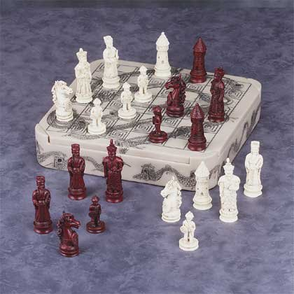 Mandarin Ivory-Like Dragon Chess Set