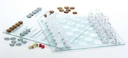 Glass Chess-Checkers-Backgammon Set